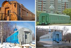 Russian trend to convert train cars to Orthodox churches, from basic repurposing to elaborate redesigns