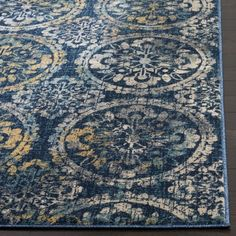 Safavieh Evoke Vintage Navy / Cream Distressed Rug (8' x 10')