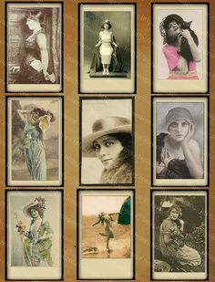Vintage photographs of pretty ladies from the early 1900's. Printable images are copyright free and may be used in your own art work or mixed media arts and crafts.