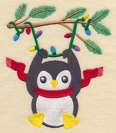 XmasLightsPenguin Machine Embroidery Designs at Embroidery Library! -