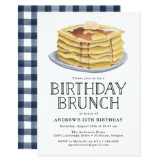 """Invite guests to a birthday brunch in style with our Pancake Brunch birthday party invitations. The stylish brunch birthday party invitations feature a stack of watercolor pancakes and """"Birthday Brunc Birthday Brunch, 25th Birthday, Diy Birthday, Birthday Parties, Birthday Ideas, Happy Birthday, Birthday Breakfast, Kid Parties, 30th"""