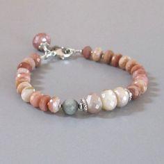 Peruvian Opal Bracelet Pink Mystic Moonstone Cat's Eye by DJStrang