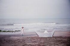 seaside paper boat