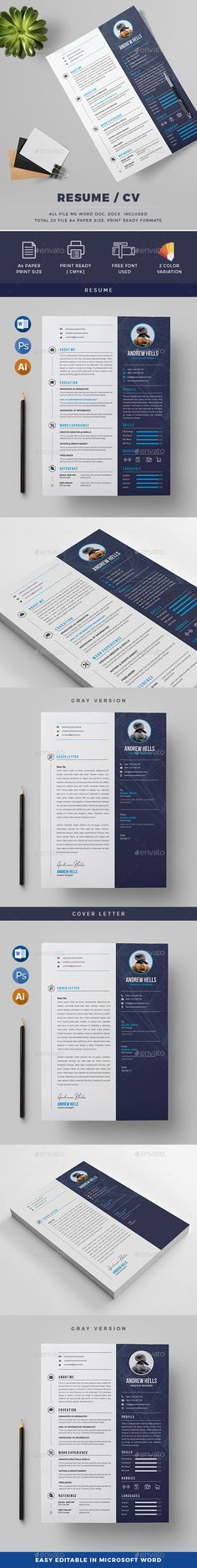 Professional Clean Resume  Indesign Templates Simple Resume