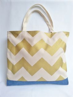 Gold Chevron totebag Craft Stalls, Gold Chevron, Handmade Accessories, Tote Bag, Crafts, Bags, Fashion, Purses, Craft Booths