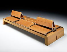 ÁFRICA Bench with back in walnut wood: light / dark. Seat and seatback in vaquetilla leather color: hazelnut / dark brown. Metal fittings in: stainless steel / gunmetal. Furniture Layout, Furniture Design, Creative Design, Modern Design, Bench With Back, Wood Sofa, Art Deco, Walnut Wood, Carpentry