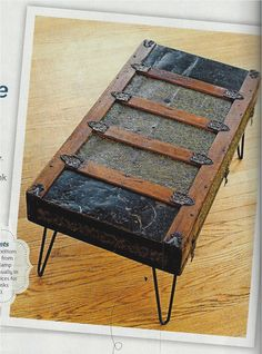 Flea Market Style, Fall, 2014  Trunk lid, legs...coffee table. What A Great Idea!