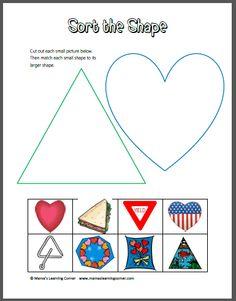 Kindergarten Worksheets Sorting: triangle worksheets preschool   Shapes Worksheets For For    ,