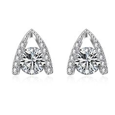 White Gold Plated Triangualr Drop Studs