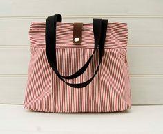 Handbag Red White Stripe Handbag Everyday Bag Purse by GreenCallow, £29.00