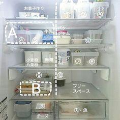 女性で、の定点観測/キッチン収納/冷蔵庫/ダイソー/セリア/100均…などについてのインテリア実例を紹介。「2016夏休みver.冷蔵庫。  観音扉なので旦那の使うものは右半分に。 常備食材はエリアAに集めて買い出し前の有無確認をしやすく。 エリアBには早めに使いきるものを。  ①ビール ②ノンアルコールビール ③その他飲料 ④加工肉 ⑤ミニ豆腐 ⑥子供にすぐ出せるもの(ソーセージ等) ⑦頂き物 ⑧冷たいスイーツ ⑨比較的長期のストック食材(こんにゃく等) ⑩いかなごのくぎ煮w」(この写真は 2016-08-15 22:02:37 に共有されました)