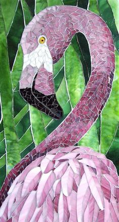 I Flamingos -->Linda Billet mosaic glassFlamingos are happyMosaic Tile Mania - The world's largest selection of hand cut, stained glass mosaic tiles & mosaic supplies.I could have this flamingo in my yard.We sell the best selection of mosaic house nu Mosaic Crafts, Mosaic Projects, Art Projects, Mosaic Animals, Mosaic Birds, Stained Glass Art, Mosaic Glass, Sicis Mosaic, L'art Du Vitrail