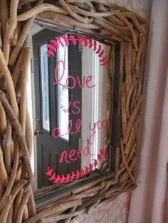 Amber B Interiors, Simple Dwelling blog, writing on glass, writing on mirrors, big magic markers, valentine craft idea