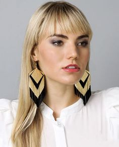 Parton Fringe Earrings in Black and Gold by Claire Fong