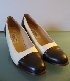 Made in Italy Cream & Brown Bandolino Captoe Spectator Pumps Size 7M US by EurotrashItaly on Etsy