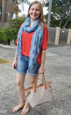 c8f1220f7480 blue tree print scarf red Jeanswest woven terracotta tee Bermuda denim  shorts neverfull