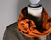 Upcycled Orange Sweater Scarf w/Flower Pin, Accessory by TrendyEarth $20