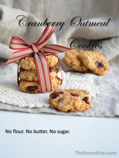 Cranberry Oatmeal Cookies, healthy | The Smoothie LoverThe Smoothie Lover...replace honey with applesauce, stevia, almond milk for water?