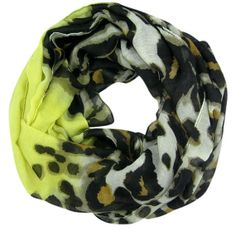 Leopard Print and Yellow Infinity Loop Scarf by ScarfBar on Etsy, $18.00