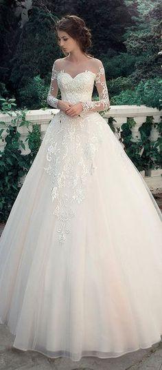 Glamorous Tulle & Satin Bateau Neckline A-Line Wedding Dresses With Lace Appliques