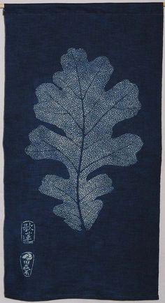 Katazome Indigo . White Oak Leaf   Nautilus Fiberarts. Karen illman miller.