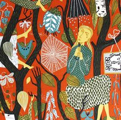 Stig Lindberg (Sweden 1916 - Italy 1982), MELODI fabric design, 1950s.