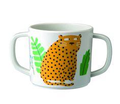 Trinklerntasse Jungle Tiger  - Material: Melamin  - mit zwei Henkeln  - Höhe ca: 6,5 cm / Ø 7,5 cm  - spülmaschinengeeignet  - nicht mikrowellengeeignet  - empfohlen ab 6 Monaten