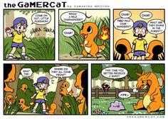Pokemon and Gamer Cat the environmental impact of breeding. Pokemon Comics, Pokemon Memes, Charmander Pokemon, Cat Comics, Pokemon Funny, My Pokemon, Funny Comics, Pokemon Stuff, Mystic Pokemon