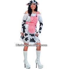 DisfracesMimo, disfraz vaca lechera para mujer.Este cómico y gracioso traje con su gorrito y su vestido  con manchas negras es perfecto para sorprender en tus Fiestas de Disfraces o Carnaval.Este disfraz es ideal para tus fiestas temáticas de disfraces de animales para mujer adultos