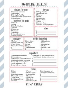 Free Printable Hospital Bag Checklist - Wit & Wander