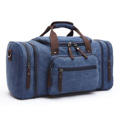 d1383c44d536 Men Travel Bag Canvas Multifunction Leather Bags Carry on Luggage Bag Men Tote  Large Capacity Utility