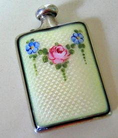 EDWARDIAN GUILLOCHE ENAMEL STERLING SILVER PERFUME FLASK WITH ROSE DESIGN   by pegi16