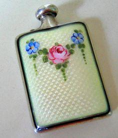 EDWARDIAN GUILLOCHE ENAMEL Sterling Perfume Bottle   by pegi16
