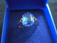 Vintage English  yellow gold ring with  large by OfAuldLangSyne, $90.00