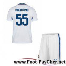 Maillot Foot Inter Milan Blanc Enfant NAGATOMO 55 Exterieur 15 2016 2017 Pas Chere