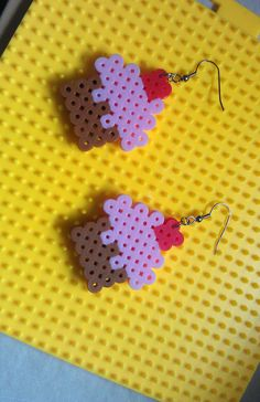Perler Bead cupcake earrings. $4.00, via Etsy.