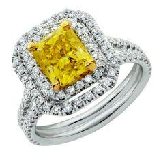 2.87 Carat Fancy Vivid Yellow Radiant Cut Diamond Engagement Ring 18K White Gold