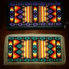 """Beaded wallets.  See pattern for making this design on my """"Loom Beading & Square Stitch"""" board."""