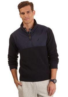 Nautica  Pieced Quarter Zip Sweater