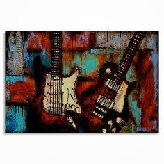 Gitaar schilderij, moderne kunst van de gitaar, muziek kunst aan de muur, Les Paul, Gift voor een musicus, de originele gitaar schilderij op canvas MADE TO ORDER