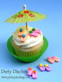 flip flop cupcake, Pez candy flip flop cupcake toppers, beach party idea