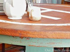 "Our Prairie Home: Oak Pedestal Table {A Before & After}  Monogrammed Table  Miss Mustard Seed Milk Paint ""Lucketts Green"""