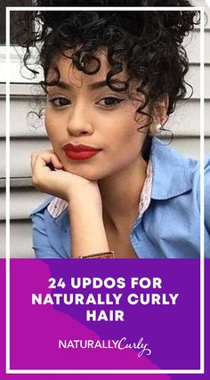 24 updos for naturally curly hair – Hair Ideas Hairdos For Curly Hair, Curly Hair With Bangs, Colored Curly Hair, Curly Hair Care, Permed Hairstyles, Short Curly Hair, Hairstyles With Bangs, Curly Hair Styles, Natural Hair Styles