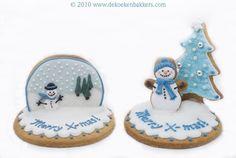 3D Christmas Snowman Decorated Sugar Cookies #snowglobe #cookieart