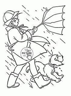windy and rainy spring coloring page for kids seasons coloring pages printables free wuppsy