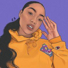 Black Girl Cartoon, Dope Cartoon Art, Black Love Art, Black Girl Art, Drawings Of Black Girls, Trill Art, Black Art Pictures, Black Artwork, Digital Art Girl