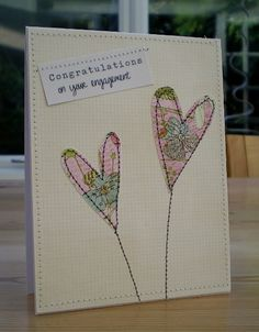 Blush Crafts: Cards - Clean and Simple Fabric Cards, Fabric Postcards, Paper Cards, Handmade Birthday Cards, Greeting Cards Handmade, Kirigami, Embroidery Cards, Crewel Embroidery, Freehand Machine Embroidery