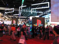 A blur of people whiz past the Playstation Booth. They had a very long line to preview the PS3 which we had no interest in waiting in.       Video Game Systems  Information.