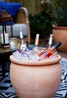 $10 or Less DIYs For Decorating Your Outdoor Party: Use outdoor containers as ice buckets