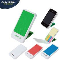 Soporte para  teléfono celular anti-desliz de silicon, incluye notas adhesivas amarillas y 4 colores de las banderas adhesivas.  Colores: Blanco,Rojo,Azul,Verde